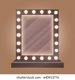 Realistic makeup mirror with bulbs  illustration.
