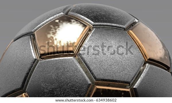 Realistic metallic soccer ball or football ball closeup image. 3D illustration. 3D CG. High resolution.