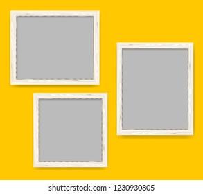 Realistic minimal blank light wood frames over yellow background. Wooden borders set illustration.