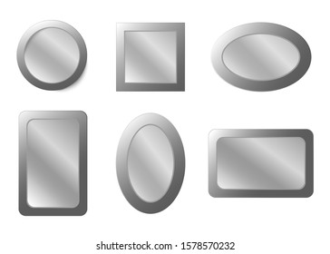 Realistic mirror. realistic mirrors set with blurry reflection. Metal round, oval and rectangular squear mirror frame