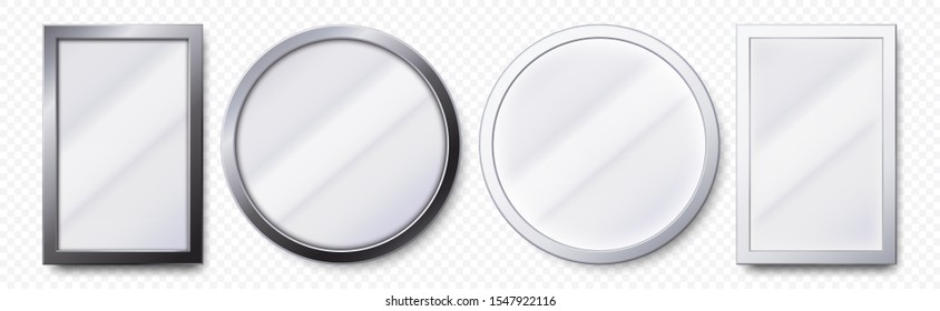 Realistic mirrors. Metal round and rectangular mirror frame, white mirrors template. Makeup or interior furniture reflecting glass surfaces 3D isolated icons  set