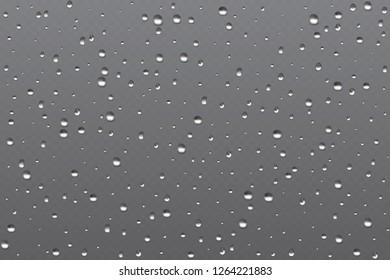 Realistic misted glass, rain bubble water vapor in window.  illustration.