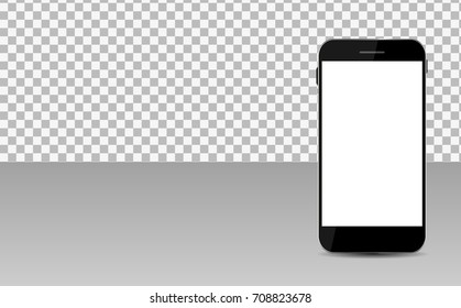 Realistic Mobile Phone with Abstract Wallpaper on Screen on Transperent Background.  Illustration