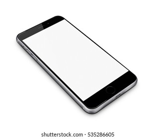 Realistic mobile phone with blank screen isolated on white background. 3D illustration.