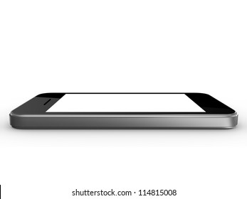 Realistic mobile phone device with blank touch screen with black frame, isolated on white background.