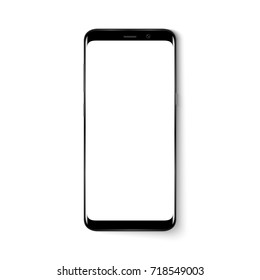 Realistic mobile phone smart phone with blank screen isolated on white background.  illustration for printing and web element. Game and application mock up.