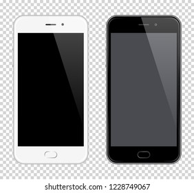 Realistic  Mobile Phone. Smartphone mock-up. Black and white phones on transparent background