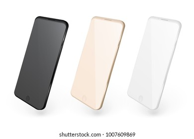 Realistic mobile phones. Smartphone 3d illustration isolated on white background. Graphic concept for your design