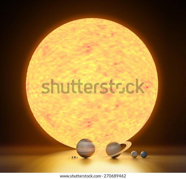 Realistic Model Our Solar System Scale Stock Illustration