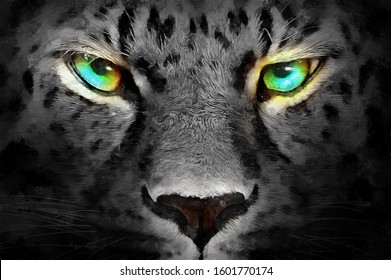 realistic modern hand drawn black and white oil painting of cheetah with colorful eyes. artist collection of animal painting for decoration and interior, canvas art, abstract