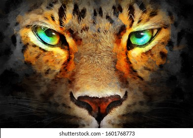 realistic modern hand drawn oil painting of cheetah eyes. artist collection of animal painting for decoration and interior, canvas art, abstract