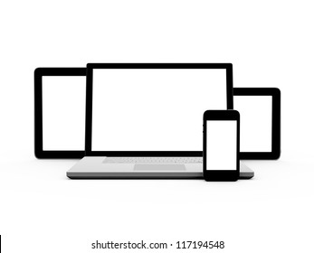 Realistic and modern tablets, laptop and mobile phone with blank screen, isolated on white background.