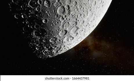 realistic moon surface 3d render