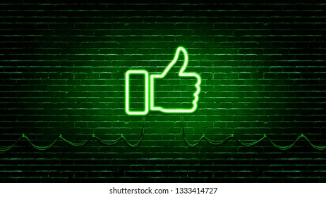 Realistic Neon Hand Thumb Up icon. Illustration on realistic brick wall background.