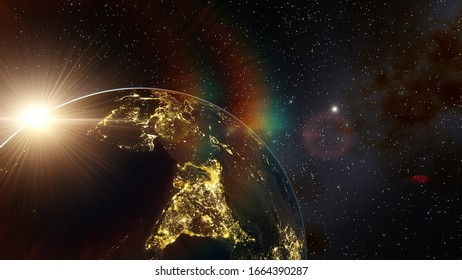 realistic night India from space 3d render