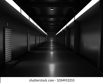 realistic night tunnel or science lap, sci-fi corridor , 3D render.