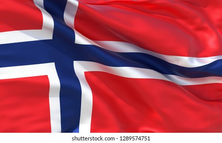 Realistic Norway waving flag, high quality 3d rendering