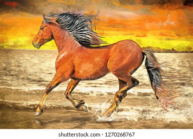 Realistic oil painting of brown horse runs along the beach in the wind. Collection of designer oil animal paintings. Decoration for the interior. Modern abstract art on canvas. sea , sunset