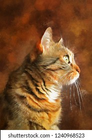 realistic oil painting of cat, artwork, hand drawn, illustration, art, vintage