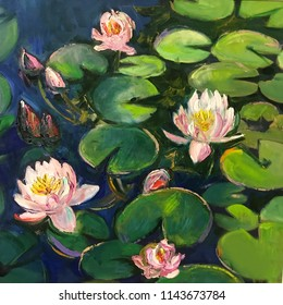Realistic oil painting square. Water lilies bloomed on the green petals, water-lily in the garden lake, swamp, river. Modern art conceptual picture of bright sunny day, positive mood like in fairytale