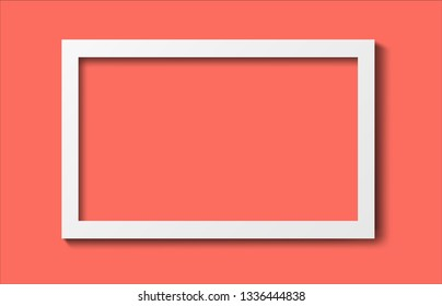 Realistic old photo frame isolated on living coral trendy color background. 3D illustration
