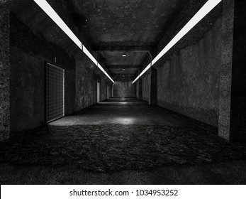realistic old tunnel or science lap, sci-fi corridor , 3D render.
