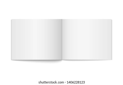 Realistic opened wide blank book. Vertical brochure page, notebook, magazine, booklet, brochure, cover. Mock up template for your design. Blank paper for graphic, creative, business, education.