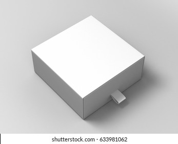Realistic Package Cardboard Sliding Box on grey background. For small items, matches, and other things. 3d render illustration.