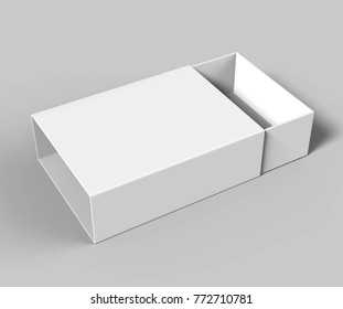 Realistic Package Cardboard Sliding Box on grey background. For small items, matches, and other things. 3d render illustration