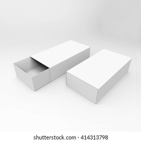 Realistic Package Cardboard Sliding Boxes For small items, matches, and other things. Mockup, 3D illustration