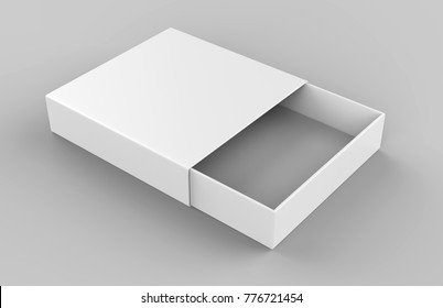 Realistic Package Cardboard Sliding drawer Box on grey background. For small items, matches, and other things. 3d render illustration