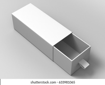 Realistic Package Cardboard Sliding open Box on grey background. For small items, matches, and other things. 3d render illustration.