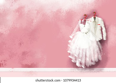 realistic painting wedding dress hang on red hanger on pink wall.