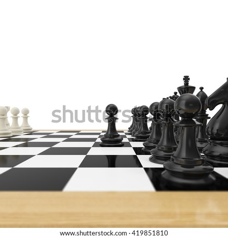 Beautiful Realistic Pawn Staying Against Full Set Of Chess Pieces. 3d Illustration
