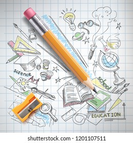realistic pencil, sharpener on notebook paper with colored sketch creative education, science, school hand drawn doodles symbols. Concept of idea, study, research and development illustration