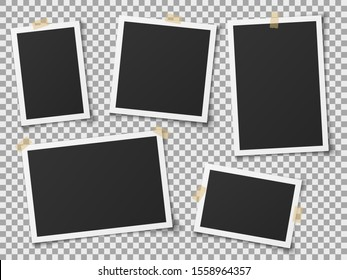 Realistic photo frames. Vintage empty photos frame with adhesive tapes. Images on wall, retro memory album. White blank square old card for photograph memories template