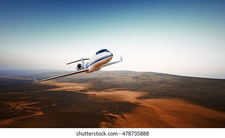 Realistic Photo White Luxury Generic Design Airplane.Private Jet Cruising High Altitude, Flying Over Mountains.Empty Blue Sky with Sun Background. Business Travel Concept. Horizontal. 3D rendering