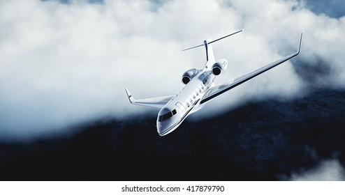 Realistic picture of White Luxury generic design private airplane flying over the earth. Abstract white clouds at background. Business Travel Concept. Horizontal. 3D rendering