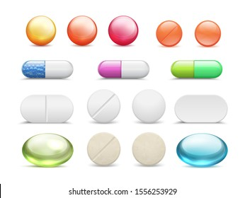 Realistic pills. Medicine tablets round vitamins and capsule drugs, different healthcare pharmacy.  pharmaceutical dosage cure medicines set