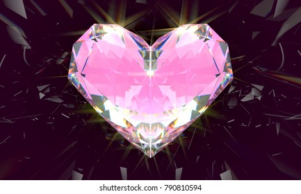 Realistic pink diamond with caustic light on black background. 3d illustration