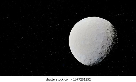 realistic planet Ceres, surface Ceres, solar system 3d render