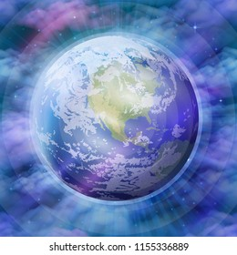 Realistic Planet Earth on Mystical Background with Bright Stars, Blue Clouds and Rays. Elements of This Image Furnished by NASA,