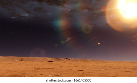 realistic planet mars, red planet 3d render