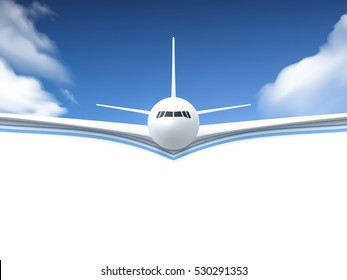 Realistic poster white Airplane flying in the sky with white bottom abstract background  illustration