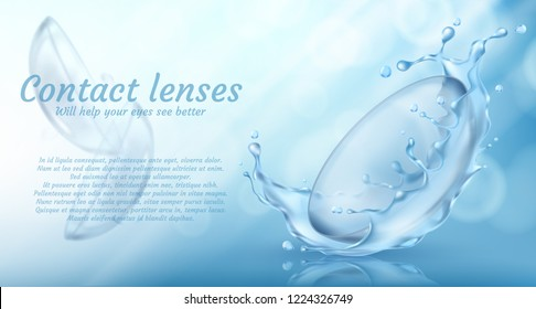 realistic promotion banner with contact lenses in water splash for eye care on blue background. Medical accessory used in ophthalmology to correct vision. Mockup for product ads, package design