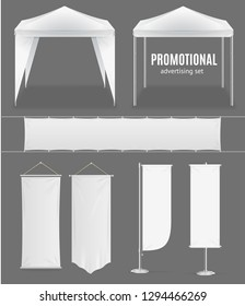 Realistic Promotional Advertising Set Empty Template Textile Banner, Flag and Tent or Pavilion for Fair, Festival, Expo. illustration