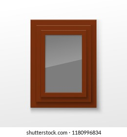 Realistic Rectangular Square wood Brown Color Blank Picture Frame A3, A4 sizes, hanging on a White Wall from the Front. illustration Empty wood Frame with Shiny Glass. Design Template for Mock Up.