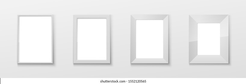 Realistic Rectangular White Color Blank Picture Frame A3, A4 sizes, hanging on a White Wall from the Front. illustration set Empty Frame with Shiny Glass. Design Template for Mock Up Set