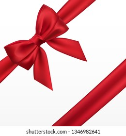 Realistic red bow. Element for decoration gifts, greetings, holidays.