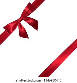 Realistic red bow with red ribbons isolated on white. Element for decoration gifts, greetings, holidays.